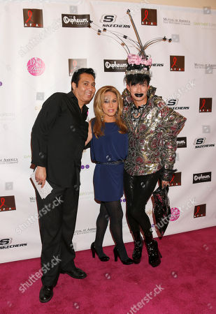 Chef Bernie, Adrinne Maloof and Bobby Trendy attend the Best in Drag show at The Orpheum Theatre, in Los Angeles