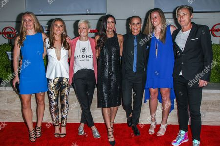 Stock Photo of From left, Becky Sauerbrunn, Kelley O'Hara, Megan Rapinoe, Ali Krieger, Ashlyn Harris, Alyssa Naher and Abby Wambach attend the BODY at ESPYs party held at Milk Studios on in Los Angeles