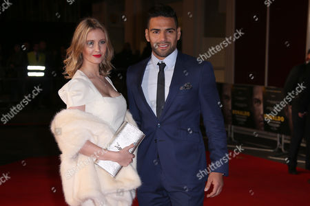 Lorelei Taron and Radamel Falcao pose for photographers upon arrival at the world premiere of the film 'Ronaldo, in London