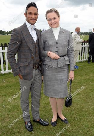 Fernando Montano and guest at Cartier Queen's Cup held at Guards Polo Club in Windsor, on Sunday June 16th, 2013