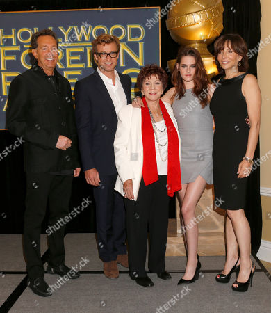 Barry Adelman, Simon Baker, HFPA President Dr. Aida Takla-O'Reilly, Kristen Stewart and Orly Adelson announce Jodie Foster as the recipient of the Cecil B. DeMille Award which will be honored at the 70th Annual Golden Globe Awards in Beverly Hills, Calif