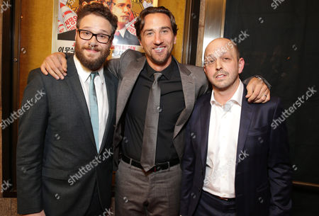 "Director/Producer/Screenwriter Seth Rogen, Producer James Weaver and Executive Producer/Writer Dan Sterling seen at Columbia Pictures World Premiere of ""The Interview"", in Los Angeles"