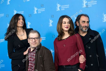 From left, actors Popi Tsapanidou, Petros Zervos, Vicky Papadopoulou and Vangelis Mourikis pose for photographers at the photo call for the film Stratos during the 64th Berlinale International Film Festival, in Berlin