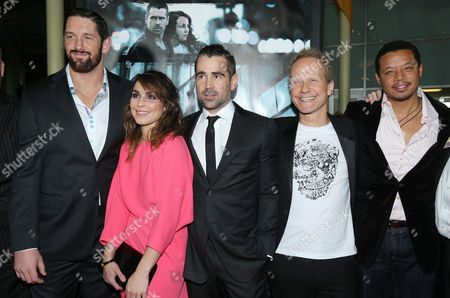 """Wade Barrett, Noomi Rapace, Colin Farrell, Director Niels Arden Oplev and Terrence Howard at FilmDistrict's World Premiere of """"Dead Man Down"""" held at the ArcLight Hollywood, on in Los Angeles"""