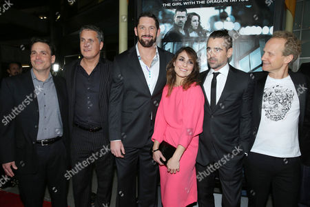 """Executive Producer Michael Luisi, Executive Producer Stuart Ford, Wade Barrett, Noomi Rapace, Colin Farrell and Director Niels Arden Oplev at FilmDistrict's World Premiere of """"Dead Man Down"""" held at the ArcLight Hollywood, on in Los Angeles"""