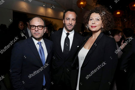 """Producer Robert Salerno, Director/Writer/Producer Tom Ford and Donna Langley, Chairman of Universal Pictures, seen at Focus Features Los Angeles Special Screening of """"Nocturnal Animals"""" after party at Hammer Museum, in Los Angeles"""