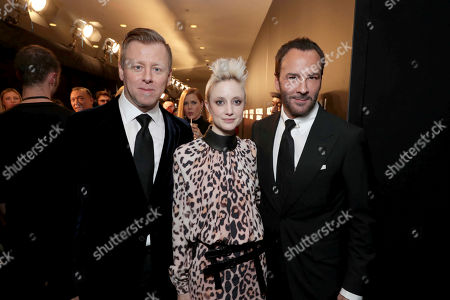 "Composer Abel Korzeniowski, Andrea Riseborough and Director/Writer/Producer Tom Ford seen at Focus Features Los Angeles Special Screening of ""Nocturnal Animals"" at Hammer Museum, in Los Angeles"