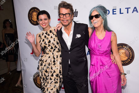 Leah Hennessey, David Johansen and Mara Hennessey attend the Friars Club Entertainment Icon Award ceremony honoring Martin Scorsese at Cipriani Wall Street, in New York
