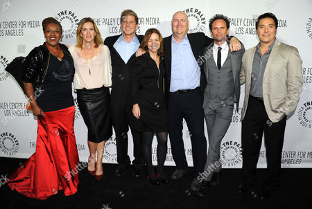 From left, CCH Pounder, Catherine Dent, Kenny Johnson, Cathy Cahlin Ryan, Shawn Ryan, Walton Goggins, and Benito Martinez of The Shield attend the 2013 Benefit Gala Honoring FX Networks with the Paley Prize for Innovation and Excellence on in Los Angeles