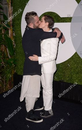 Actress Rose McGowan, and Davey Detail attend the 2014 GQ Men of the Year Party at Chateau Marmont in Los Angeles on