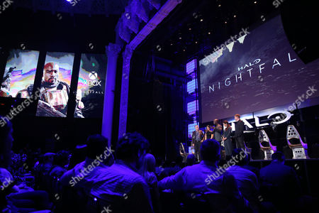 """IMAGE DISTRIBUTED FOR MICROSOFT - Major Nelson, Director of Programming for the Microsoft gaming network Xbox Live, Kiki Wolfkill, Executive Producer at 343 Industries Studio, and """"Halo: Nightfall"""" cast Mike Coulter, Christina Chong and Steve Waddington, from left, speak at HaloFest at the Avalon Theatre in Los Angeles on"""
