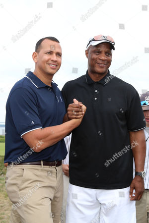 Alex Rodriguez, left, and Darryl Strawberry attend the Hank's Yanks 1st Annual Golf Classic at Trump Golf Links, in New York