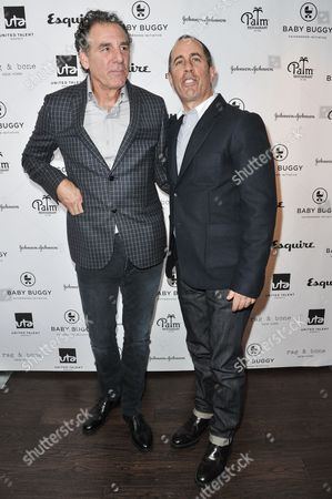 Michael Richards, left, and Jerry Seinfeld attends the Inaugural Los Angeles Baby Buggy Fatherhood Lunch at Palm Restaurant, in Beverly Hills, Calif