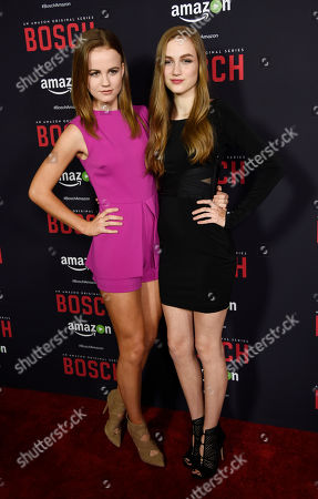 """Mackenzie Lintz, left, and her sister Madison, cast members in """"Bosch,"""" pose together at the season two premiere of the Amazon original series at the Pacific Design Center, in West Hollywood, Calif"""