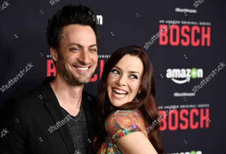 """Annie Wersching, a cast member in """"Bosch,"""" poses with her husband Stephen Full at the season two premiere of the Amazon original series at the Pacific Design Center, in West Hollywood, Calif"""