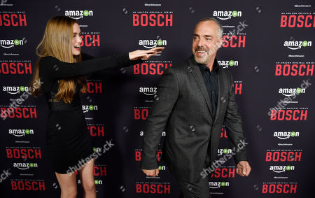 """Madison Lintz, left, and Titus Welliver, cast members in """"Bosch,"""" mingle on the red carpet at the season two premiere of the Amazon original series at the Pacific Design Center, in West Hollywood, Calif"""