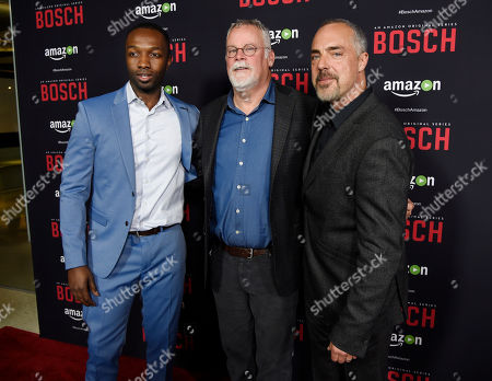 """Michael Connelly, center, creator and co-writer of """"Bosch,"""" poses with cast members Jamie Hector, left, and Titus Welliver at the season two premiere of the Amazon original series at the Pacific Design Center, in West Hollywood, Calif. The show takes its inspiration from Connelly's novels """"City of Bones,"""" """"Echo Park"""" and """"The Concrete Blonde"""