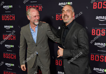 "Titus Welliver, a cast member in ""Bosch,"" poses with actor Xander Berkeley at the season two premiere of the Amazon original series at the Pacific Design Center, in West Hollywood, Calif"