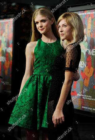 """Elena Kampouris, left, and Olivia Crocicchia, cast members in """"Men, Women & Children,"""" pose together at the premiere of the film at the Directors Guild of America Theater, in Los Angeles"""