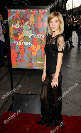 """Olivia Crocicchia, a cast member in """"Men, Women & Children,"""" arrives at the premiere of the film at the Directors Guild of America, in Los Angeles"""