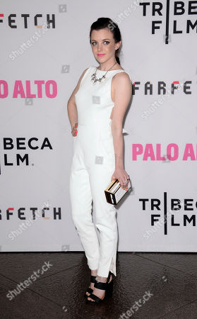 "Claudia Levy arrives at the premiere of ""Palo Alto"" at the DGA Theater, in Los Angeles"