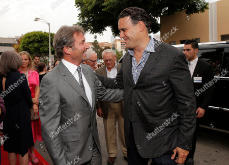 """Lionsgate Motion Picture Group co-chairman Patrick Wachsberger and Producer Mark Vahradian arrive on the red carpet at the LA premiere of """"Red 2"""" at the Westwood Village on in Los Angeles"""