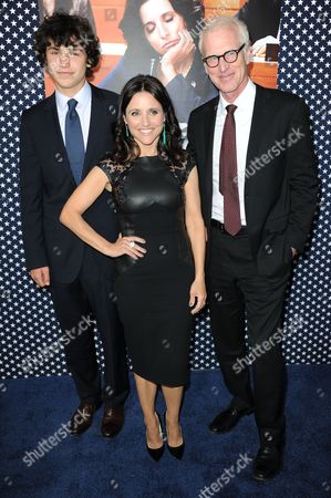 """Charles Hall, left, Julia Louis-Dreyfus, and Brad Hall arrive at the LA premiere of the 2nd season of """"VEEP"""" at Paramount Studios on in Los Angeles"""