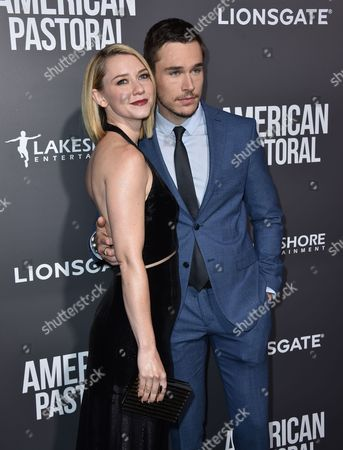"""Valorie Curry, left, and Sam Underwood arrive at a special screening of """"American Pastoral"""" at the Samuel Goldwyn Theater, in Beverly Hills, Calif"""