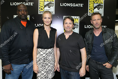 Writer/Executive Producer Kevin Grevioux, Yvonne Strahovski, Director Stuart Beattie and Aaron Eckhart seen at Lionsgate's 'I, Frankenstein' Talent Signing at 2013 Comic-Con, on Friday, July, 19, 2013 in San Diego, Calif