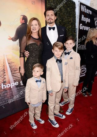 Julianne Morris, Kristoffer Polaha, Micah Polaha, Kristoffer Caleb Polaha and Jude Polaha seen at Los Angeles Premiere of Roadside Attractions/Godspeed Pictures 'Where Hope Grows' at Arclight Cinemas Hollywood, in Los Angeles, CA