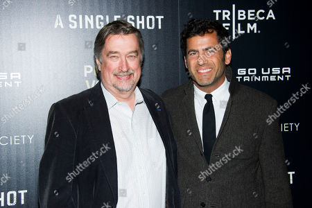 """Geoffrey Gilmore, left, and David M. Rosenthal attend a screening of """"A Single Shot"""" hosted by the Cinema Society and Tribeca Films on in New York"""