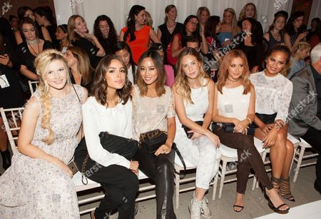 Stock Photo of Amber Fillerup, Olivia Culpo, Aimee Song, Dylan Penn, Ashley Tisdale and Chrissy Teigen attend the New York Fashion Week Spring/Summer 2016 LC Lauren Conrad fashion show at Skylight Modern, in New York