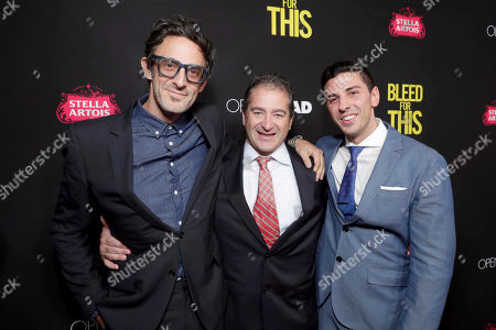 """Director/Writer/Producer Ben Younger, Producer Chad A. Verdi and Executive Producer Joshua Sason seen at Open Road Films Los Angeles Premiere of """"Bleed for This"""" at Samuel Goldwyn Theater, in Beverly, Hills, Calif"""