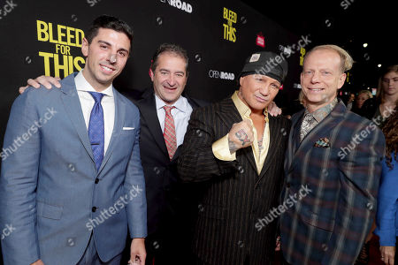 """Executive Producer Joshua Sason, Producer Chad A. Verdi, Vinny Paz and Producer Bruce Cohen seen at Open Road Films Los Angeles Premiere of """"Bleed for This"""" at Samuel Goldwyn Theater, in Beverly, Hills, Calif"""