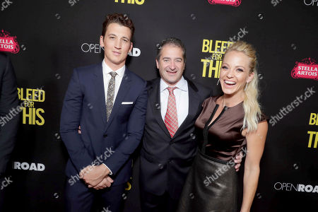 "Miles Teller, Producer Chad A. Verdi and Jessica Stam seen at Open Road Films Los Angeles Premiere of ""Bleed for This"" at Samuel Goldwyn Theater, in Beverly, Hills, Calif"
