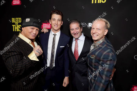 """Vinny Paz, Miles Teller, Producer Chad A. Verdi and Producer Bruce Cohen seen at Open Road Films Los Angeles Premiere of """"Bleed for This"""" at Samuel Goldwyn Theater, in Beverly, Hills, Calif"""