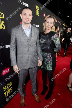 """Vyacheslav Shabranskyy and guest seen at Open Road Films Los Angeles Premiere of """"Bleed for This"""" at Samuel Goldwyn Theater, in Beverly, Hills, Calif"""