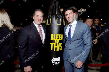 """Producer Chad A. Verdi and Executive Producer Joshua Sason seen at Open Road Films Los Angeles Premiere of """"Bleed for This"""" at Samuel Goldwyn Theater, in Beverly, Hills, Calif"""
