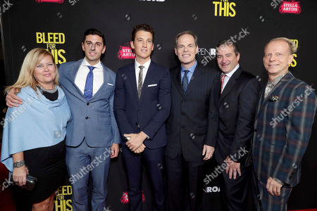 """Executive Producer Michelle Verdi, Executive Producer Joshua Sason, Miles Teller, Tom Ortenberg, Chief Executive Officer of Open Road Films, Producer Chad A. Verdi and Producer Bruce Cohen seen at Open Road Films Los Angeles Premiere of """"Bleed for This"""" at Samuel Goldwyn Theater, in Beverly, Hills, Calif"""