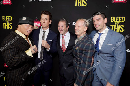 """Vinny Paz, Miles Teller, Producer Chad A. Verdi, Producer Bruce Cohen and Executive Producer Joshua Sason seen at Open Road Films Los Angeles Premiere of """"Bleed for This"""" at Samuel Goldwyn Theater, in Beverly, Hills, Calif"""