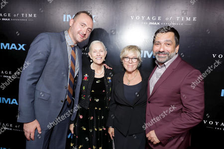 """Stock Photo of Producer Nicolas Gonda, Alexandra â?œEckyâ?? Malick, Producer Sarah Green and Producer Sophokles Tasioulis seen at Los Angeles Premiere of """"Voyage of Time: The IMAX Experience"""" at California Science Center IMAX Theatre, in Los Angeles"""