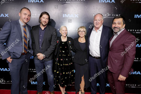 "Stock Photo of Producer Nicolas Gonda, Executive Producer Tanner Beard, Alexandra Ecky Malick, Producer Sarah Green, Producer Grant Hill and Producer Sophokles Tasioulis seen at Los Angeles Premiere of ""Voyage of Time: The IMAX Experience"" at California Science Center IMAX Theatre, in Los Angeles"