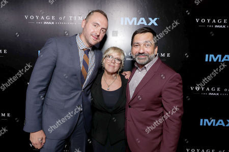 """Stock Image of Producer Nicolas Gonda, Producer Sarah Green and Producer Sophokles Tasioulis seen at Los Angeles Premiere of """"Voyage of Time: The IMAX Experience"""" at California Science Center IMAX Theatre, in Los Angeles"""