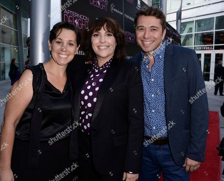 """Stock Picture of From left to right, producer Jen Chaiken, director Jill Soloway, producer Sebastian Dungan arrive at the Los Angeles premiere screening of the feature film """"Afternoon Delight"""" at the ArcLight Hollywood on in Los Angeles"""