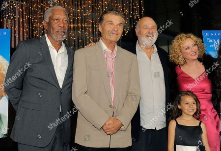 """Rob Reiner, second from right, director of """"The Magic of Belle Isle,"""" poses with cast members, from left, Morgan Freeman, Fred Willard, Nicolette Pierini and Virginia Madsen at the premiere for the film at the Director's Guild of America on in Los Angeles"""