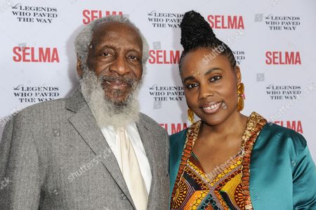 Dick Gregory, left, and guest arrive at Selma And The Legends That Paved The Way Gala, in Goleta, Calif