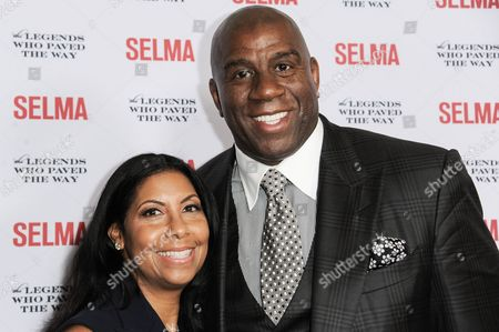 Cookie Johnson, left, and Earvin 'Magic' Johnson arrive at Selma And The Legends That Paved The Way Gala, in Goleta, Calif