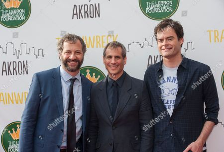 Director Judd Apatow, left, producer Barry Mendel, center and actor Bill Hader pose at the special screening of the comedy, 'Trainwreck' at the Regal Cinemas Montrose Stadium 12 theaters,, in Akron, Ohio