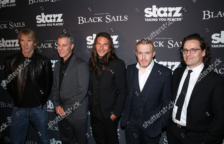 """From left, executive producer Michael Bay, producer Brad Fuller, Zach McGowan, creator Jonathan E. Steinberg, and Robert Levine arrive at the Starz """"Black Sails"""" Premiere on in Los Angeles"""