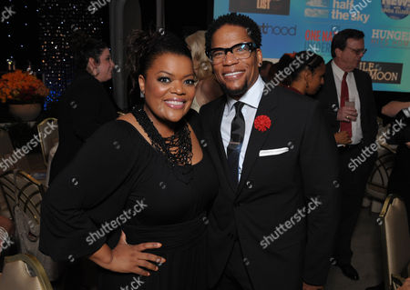 "Yvette Nicole Brown (left) and DL Hughley attend the VIP reception at the Academy of Television Arts & Sciences Presents ""The 6th Annual Television Honors"" at the Beverly Hills Hotel on in Beverly Hills, California"